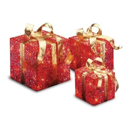 National Tree Company Lit Artificial Christmas Décor 3 Piece Set Includes Pre Strung White Lights 10x10x10 6 Red Home Kitchen