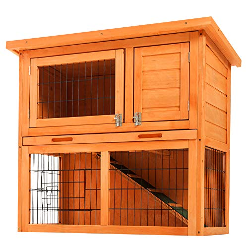Nyyi kaninchenkäfig doppelstöckig/Meerschweinchenkäfig Holz, Umweltschutz und Sicherheit, Kleintierunterhaltung, Geeignet für drinnen und draußen,Laufen mit Linoleumdach