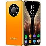 FJYDM Teléfono Inteligente, Teléfonos Celulares Desbloqueados 6.5 Pulgadas Teléfono Dual Sim 128GB Teléfonos con Desbloqueo De Huellas Digitales Y Identificación Facial,Amarillo