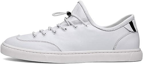 LXJL Hausschuhe de Cuero de Hombre, Correa de Zapato clásica Casual schwarz Weiß,Weiß,43