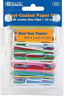 مشابك ورقية ملونة جامبو (50 مم) من BAZIC (100/حزمة)، علبة من 24