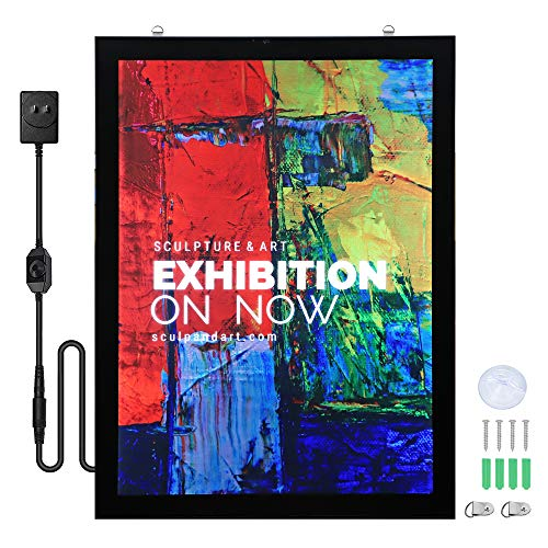 Spolehli Led Movie Poster Frame 27' x 40' Photo Frame LED Light Box Display Sign Holder in Black,...