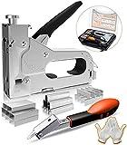 E·Durable grapadora manual,3 en 1 Pistola Grapada con1200pcs para madera cables tapicería,...