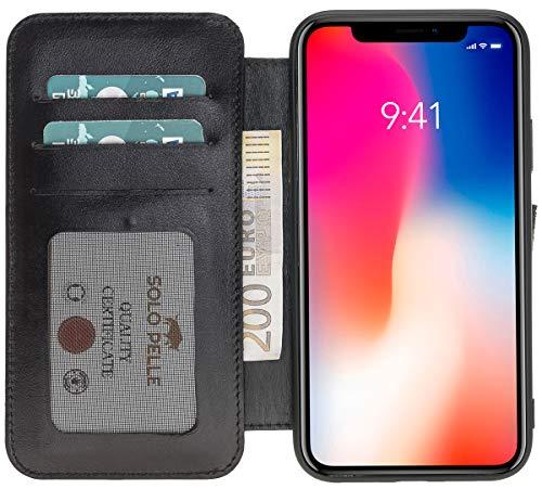 Capa carteira de couro para iPhone Xs Max Solo Pelle, iPhone XS Max, Preto