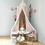 Betthimmel Baby,Betthimmel Baldachin Runde Kuppel,Kinder Moskitonetz,Betthimmel Kinder Lesesaal, Schlafzimmer Dekoration (Betthimmel Chiffon Rosa) - 4