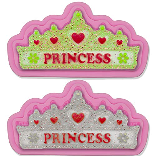 Hengke 2Pcs Princess Crown Silicone Molds for Baby Shower Party Birthday Party Pudding,Pan Muffin,Impression Mats Baroque Fondant,Chocolate,Ice Cube,Cookie Pastry Pies,Cake Cup Cake,Decoration