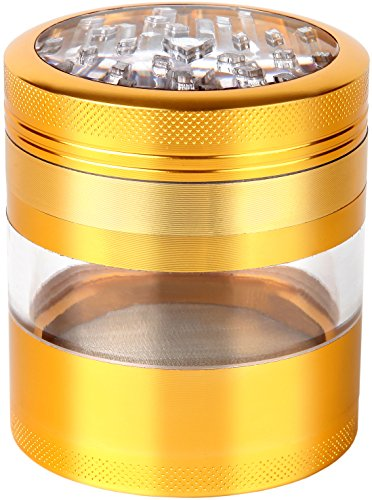 Zip Grinders - Large Herb Grinder - Four Piece with Pollen Catcher - 3.25 Inches Tall - Premium Grade Aluminum (2.5', Gold)