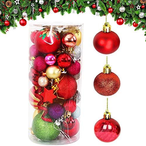 BESLIME Weihnachtskugeln Ornamente, Weihnachtsbaum Bälle Gemalte Kugel Dekorationen für Weihnachten Hochzeitsfest Dekoration,24 Stücke