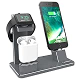 XUNMEJ Watch Stand for Apple Phone Charging Dock AirPods Charging Stand Accessories Station Holder for Apple Watch Series 4 3 2 1 AirPods Phone Xs X Max XR 7 7plus 6s 6plus iPad Mini (Gray)