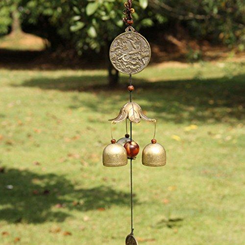 Sharplace Chinesisch Metall Windspiel Klangspiel Glücksbringer Glocke, Feng Shui Deko für Balkon Garten