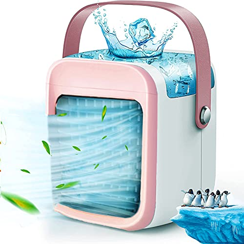 Portable Air Conditioner, Rechargeable USB Evaporative Air Cooler With 3-Speed Mode LED Light,Desktop Quiet Swamp Cooler Humidifier,Pink