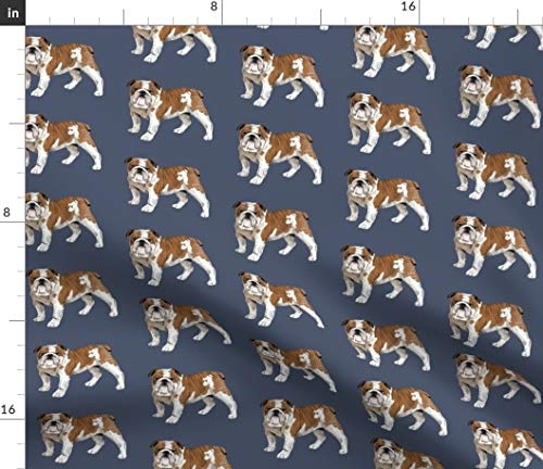 Spoonflower Fabric - English Bulldog French Dog Puppy Year Pet Printed on Petal Signature Cotton Fabric by The Yard - Sewing Quilting Apparel Crafts Decor