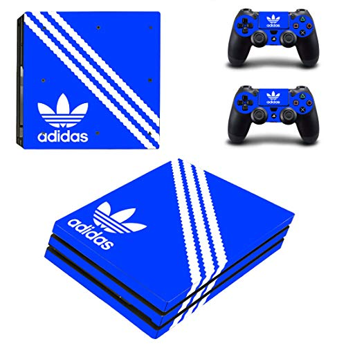 Adventure Games PS4 PRO - Adidas, Blue - Playstation 4 Vinyl Console Skin Decal Sticker + 2 Controller Skins Set