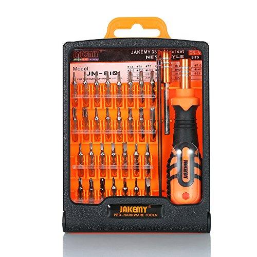 Katerk Juego de destornilladores Torx 33 en 1 con puntas magnéticas de precisión para atornillador de tornillo, kit de herramientas de reparación
