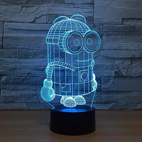 Lámpara De Ilusión 3D Luz De Noche Led 7 Colores Corte De Dibujos Animados Minions Lámpara De Escritorio Interruptor Táctil Colorido Para Niño Bebé Regalo De Cumpleaños
