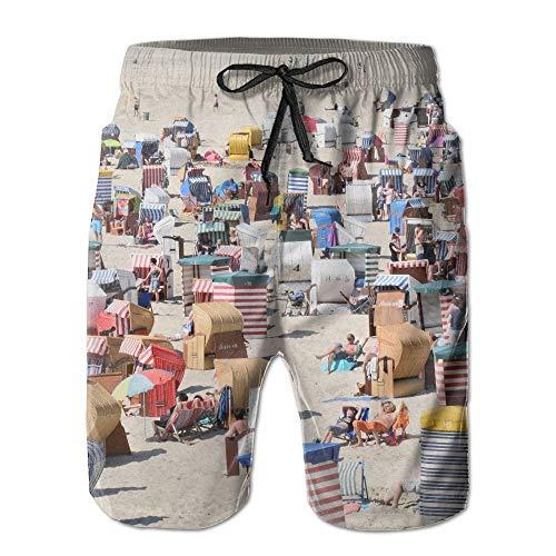 DLing Borkum Beach Holiday Herren/Jungen Freizeitshorts Badehose Badebekleidung Strandhose mit elastischer Taille und Taschen,L