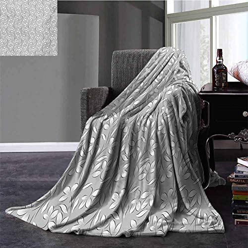 Fleece Throw Size Blanket,Silver Winter Blanket Floral Ornaments Spring Theme Abstract Paisley Antique Vintage Style Illustration Improving Sleep Grey White