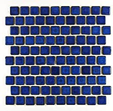 1 1/8 By 1 1/8 Inch Glossy Cobalt Blue Porcelain Kitchen Backsplash Mosaic Brick Subway Tile on a 12 By 12-inch Staggered Mesh (Box of 5 Sq Ft)