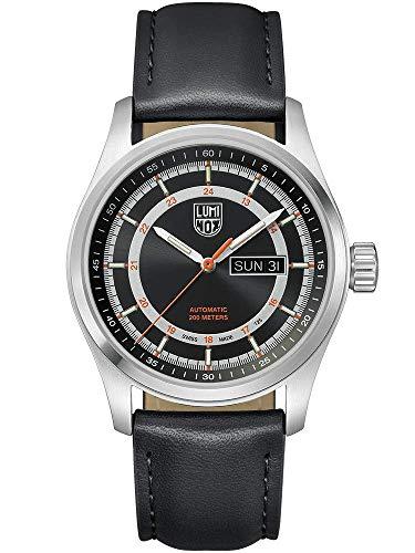 Luminox Atacama Field Automatic 1900 Series Watch Black, Sunray | Orange Dial Leather Black Strap XL.1901