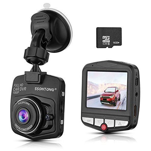 Dash Cam,Ssontong Mini Car Dashboard Camera, Full HD 1080P 2.31' Screen 140 Degree Wide Angle Lens Vehicle On-Dash Video Recorder with G-Sensor,Parking Monitoring,Recording and 16GB SD Card Included