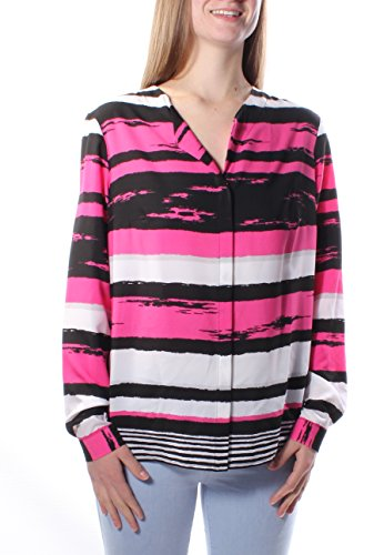 Jones NY $137 Womens New 1331 Pink Striped V Neck Cuffed Button Up Top 8 B+B
