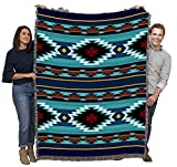 Balpinar - Southwest Native American Inspired Tribal Camp - Cotton Woven Blanket Throw - Made in The USA (72x54)