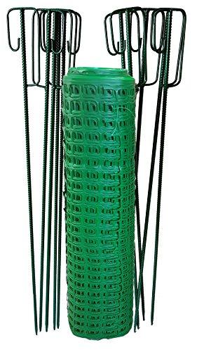 UvV UVSTOR99 Fangzaun Absperrzaun Grasgrün 50 m 12 kg schwer + 12 Absperrleinenhalter dunkelgrün, Absperrnetz Maschenzaun Kunststoff extrem Reissfest, 240gr qm (12kg)