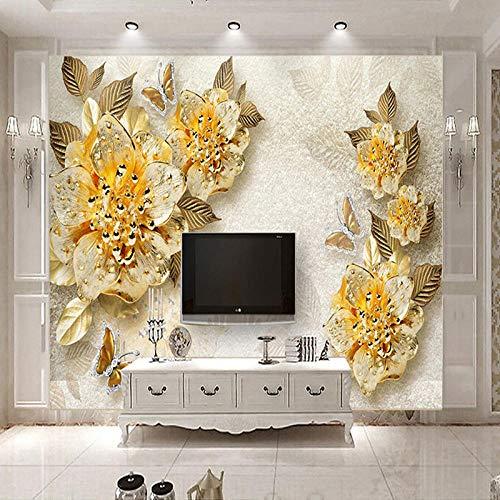 VGFGI Papel pintado de vinilo autoadhesivo impermeable de Pvc Mural 3D flor dorada joyería de diamantes restaurante decoración del hogar Oficina