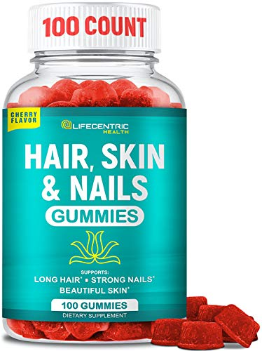 Hair Skin and Nails Gummies with High Potency Biotin 5000mcg | Tasty Cherry Hair Vitamins for Women Men and Kids | Gluten Free Hair Nail and Skin Vitamins Plus Biotin Gummies for Hair Growth