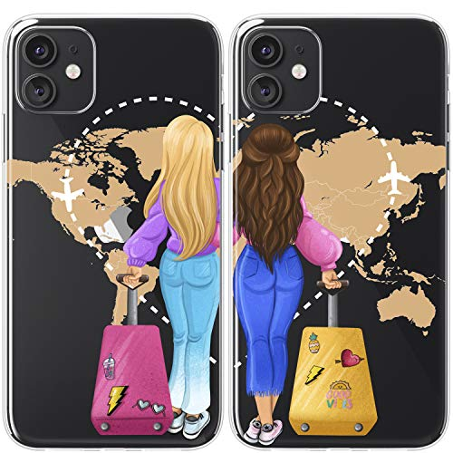 Mertak TPU Couple Cases Compatible with iPhone 12 Pro Max Mini 11 SE Xs Xr 8 Plus 7 6s Cute Matching World Map Flexible Travel Cover Girly Adventure Trip Bestie Sisters Best Friend Lightweight BFFs