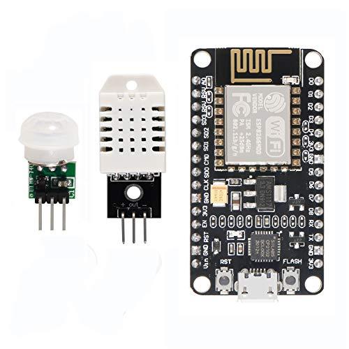 DORHEA ESP8266 DHT22 Temperature and Humidity Motion Sensor Detector Kit, ESP8266 WiFi Development Board + DHT22 Temperature Humidity Sensor + IR Pyroelectric Infrared Motion Sensor Modules