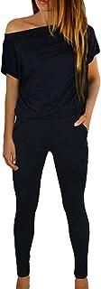 Fixmatti Women Off Shoulder Short Sleeve Long Pant Romper Jumpsuit