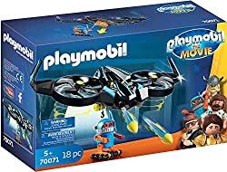 Fun for all PLAYMOBIL fans: PLAYMOBIL: THE MOVIE Robotitron with drone and functioning rocket projectile for accurate role-play Drone with firing function for arrow projectiles, Robotitron with gripping hand to hold on to string, can be combined with...