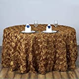 Efavormart 120' Wholesale Round Table Cover Gold Grandiose Rosette 3D Satin Tablecloth for Wedding Party Event Decoration