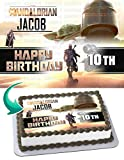 Cakecery The Mandalorian Baby Yoda Star Wars Edible Cake Image Topper Personalized Birthday Cake Banner 1/4 Sheet