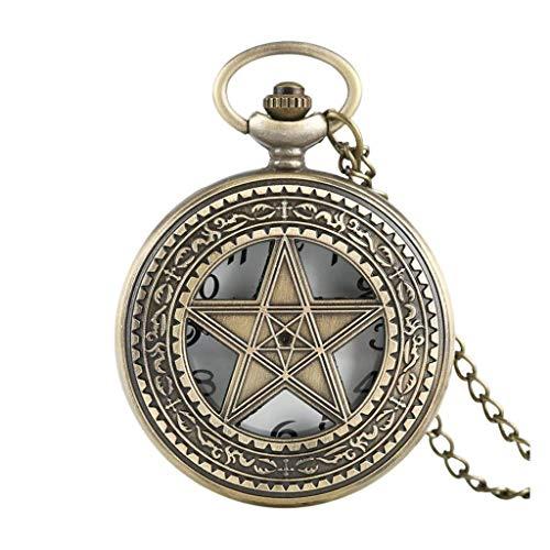 XXCHUIJU Bronce Cinco Estrellas Forma de Cuarzo Reloj de Bolsillo Media Cazador Vintage Colgante Regalos para Hombres Mujeres 80 cm Cadena de Collar