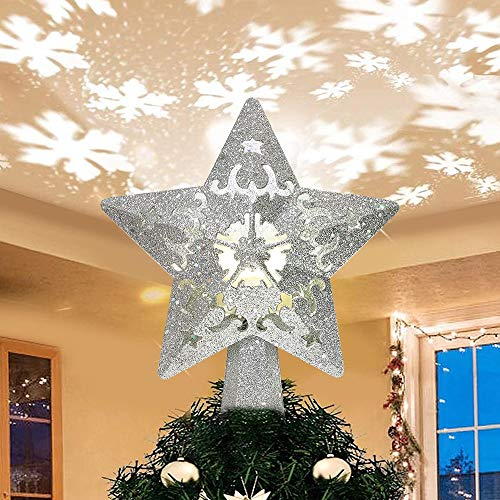 Christmas Silver Star Tree Topper with Lights Tree Topper Lighted Built-in LED Projector Lights of Rotating 3D Glitter Snowflake for Xmas New Year Holiday Party Indoor Outdoor Tree Decorations
