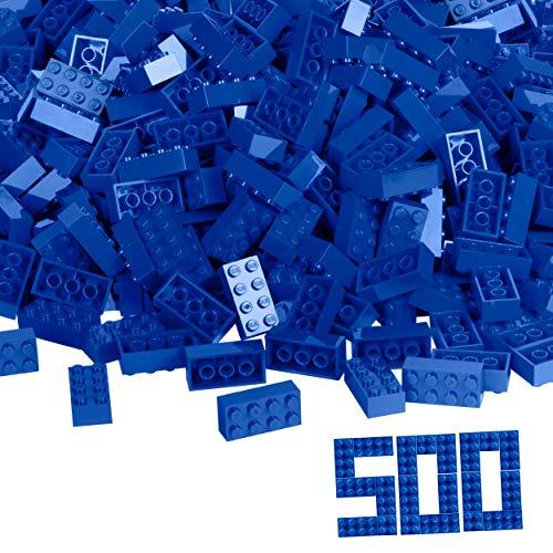 Simba 104118925, Blox, 500 blaue Bausteine für Kinder ab 3 Jahren, 8er Steine, im Karton, mit Füllbecher, vollkompatibel mit vielen anderen Herstellern
