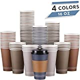 Disposable Coffee Cups with Lids - 4 Colors   16 oz To Go Paper Cups with Sleeves and Lids - 80 PK   Insulated Hot Beverages Cups   Compostable Recyclable Cold Drink Cup for Party, Birthday, On The Go