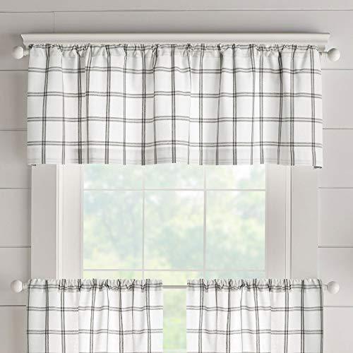 "Elrene Home Fashions Farmhouse Living Double Windowpane Plaid Window Kitchen/Café and Bathroom Valance, 60""x15"" (1, White/Grey"