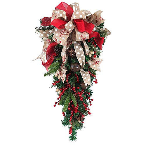 Senmubery Christmas Ornament Swag Wreath Ribbon Pine Cone Door Mount Teardrop Swag Wreath Outdoor Hanging Wall Decoration