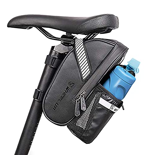 Guijiyi Satteltasche Fahrrad Fahrradtasche Fahrradsattel Tasche mit Flaschenhalter & Platz für Rücklicht Wasserdicht Kratzfest Reflektierend Ideal für Fahrradzubehör & Werkzeug
