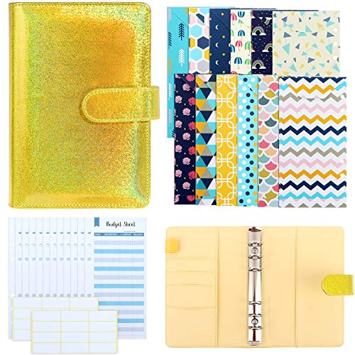 Xgood A6 PU Leather Binder Cover Binder Budget Envelope Organizer with 12 Pieces 6 Holes Budget Envelopes, 12 Pieces 6 Holes Expense Budget Sheets and 24 Pieces White Labels (Yellow)