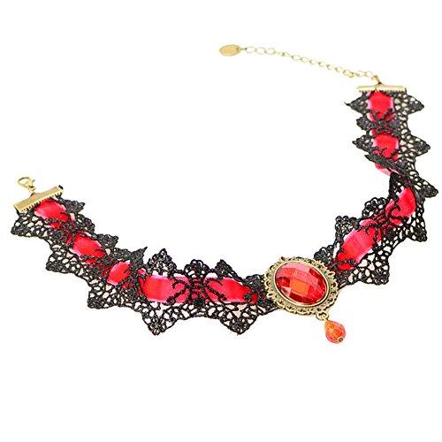 EROSPA® Gothic-Halsband Kette mit Brosche mit Anhänger Schmuckstein Häkelspitze Steampunk Retro Burlesque Necklace 5 Farben Trachtenschmuck Dirndl (Rot)