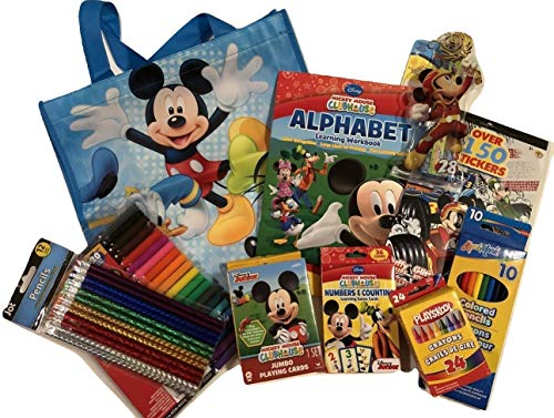 Arts and Crafts, Games For Kid's; Fun With Disney Jr. Mickey Mouse; Alphabet and Numbers; Stickers; Colored Pencils; Pencil Set; 10pc