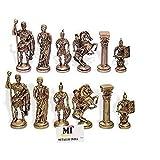 Latón de Metal ajedrez Figuras Romanas / Monedas, artículo Antiguo Showpiece Regalo Decorativo, Monedas de ajedrez reducción de tamaño Rey H - 3,5 Inches..Soldier-H 2,5 Pulgadas