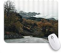 NINEHASA 可愛いマウスパッド 秋の風景道路ローリングマウンテンツリー霧の森野生の森自然グレーブラウン ノンスリップゴムバッキングコンピューターマウスパッドノートブックマウスマット