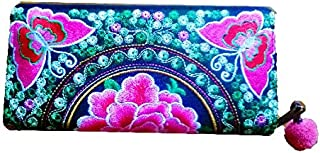 New Fashion Thai Handmade Wallet Hmong Hill Tribe Embroidered Women Purse Fabric Butterfly Pattern
