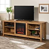 Walker Edison Furniture Company Minimal Farmhouse Wood Fireplace Universal Stand for TV's up to 80' Flat Screen Living Room Storage Shelves Entertainment Center, 70 Inch, Barnwood