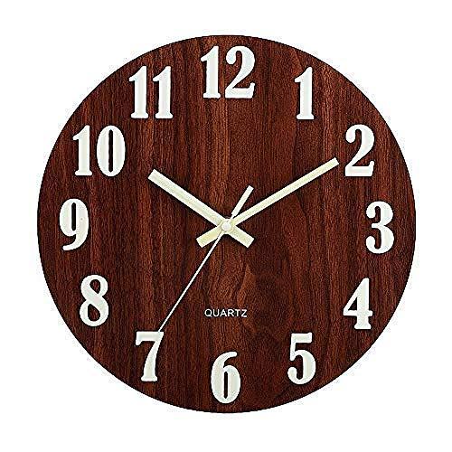 Silent Wall Clock 30cm Imitación Madera Cuarzo Hogar/Escuela/Oficina